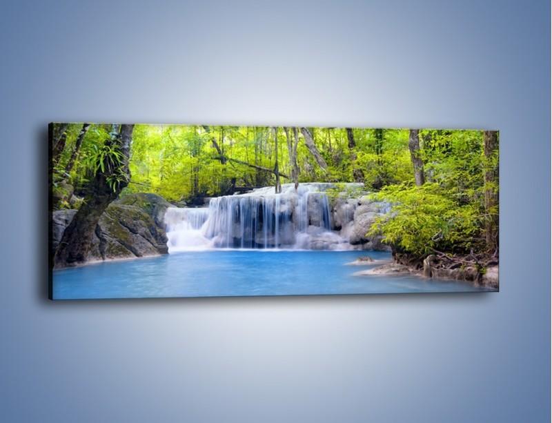 Obraz na płótnie – Mały leśny wodospad – jednoczęściowy panoramiczny KN057