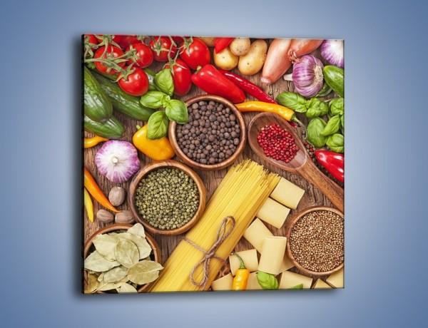Obraz na płótnie – Przyprawy makaron i warzywa – jednoczęściowy kwadratowy JN698