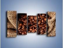 Obraz na płótnie – Ziarna kawy schowane w ciemnym worku – pięcioczęściowy JN660W2