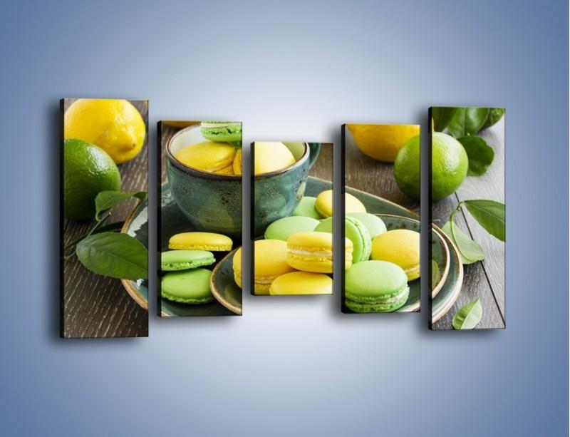 Obraz na płótnie – Cytrynowo-limonkowe ciasteczka – pięcioczęściowy JN724W2
