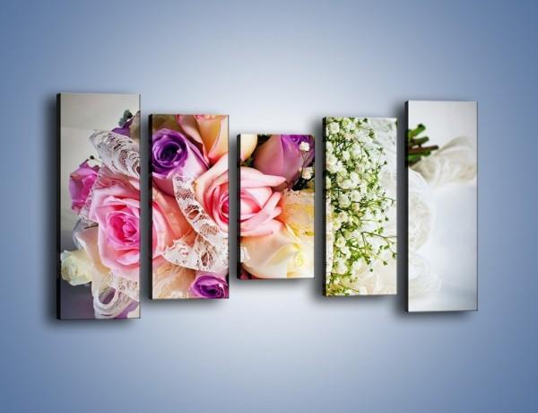 Obraz na płótnie – Wiązanka ślubna z róż – pięcioczęściowy K022W2