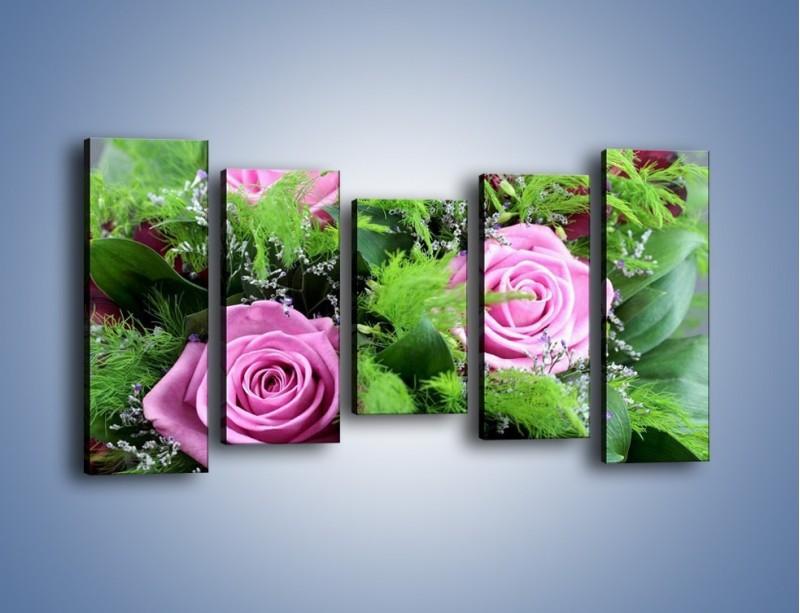 Obraz na płótnie – Bukiet róż wypełniony trawką – pięcioczęściowy K068W2