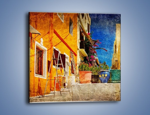 Obraz na płótnie – Greckie domki w stylu vintage – jednoczęściowy kwadratowy AM190