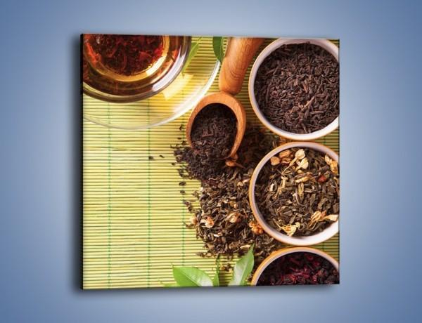 Obraz na płótnie – Sypana herbata w pojemnikach – jednoczęściowy kwadratowy JN708