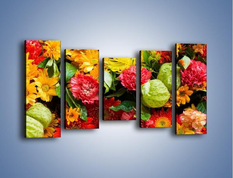 Obraz na płótnie – Bukiet pełen soczystych kolorów – pięcioczęściowy K461W2