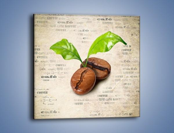 Obraz na płótnie – Ziarno kawy z dedykacją – jednoczęściowy kwadratowy JN709
