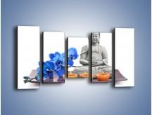 Obraz na płótnie – Budda i kwiat – pięcioczęściowy K593W2