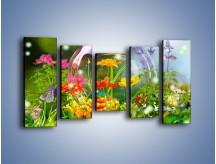 Obraz na płótnie – Bańkowy świat kwiatów – pięcioczęściowy K691W2