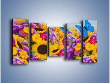 Obraz na płótnie – Bajka o kwiatach i motylach – pięcioczęściowy K794W2