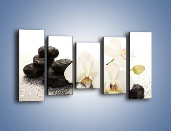 Obraz na płótnie – Mokre kwiaty i kamienie – pięcioczęściowy K986W2