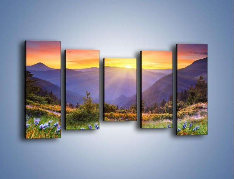 Obraz na płótnie – Góry o zachodzie słońca – pięcioczęściowy KN014W2