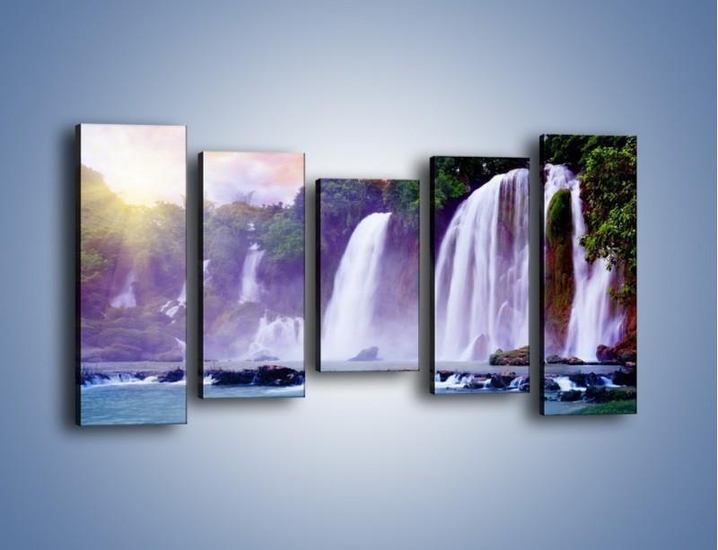 Obraz na płótnie – Wodospady jak z bajki – pięcioczęściowy KN026W2
