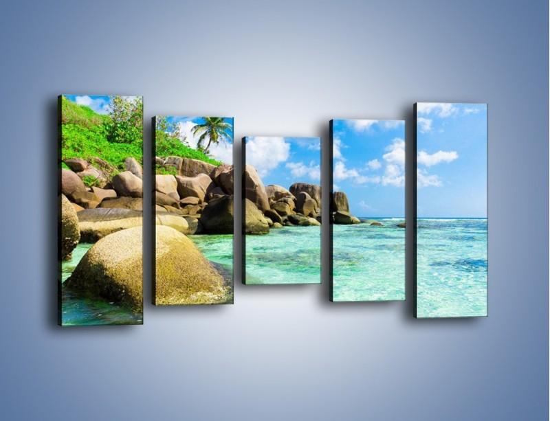 Obraz na płótnie – Lazurowa woda w tropikach – pięcioczęściowy KN035W2