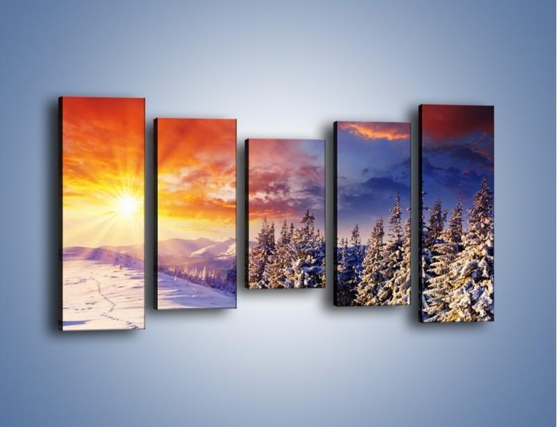 Obraz na płótnie – Urok zimowej pary – pięcioczęściowy KN098W2