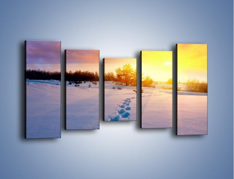 Obraz na płótnie – Ślady na śnieżnym puchu – pięcioczęściowy KN1015W2