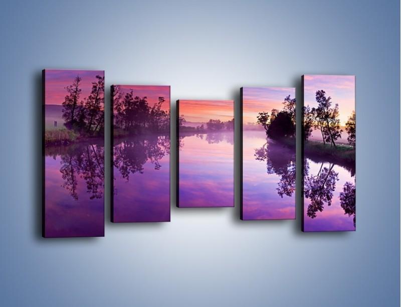 Obraz na płótnie – Fiolet w wodzie i na niebie – pięcioczęściowy KN1046W2