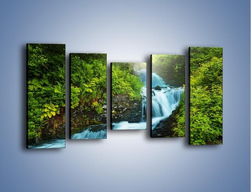 Obraz na płótnie – Spływ wodny i zieleń – pięcioczęściowy KN1069W2