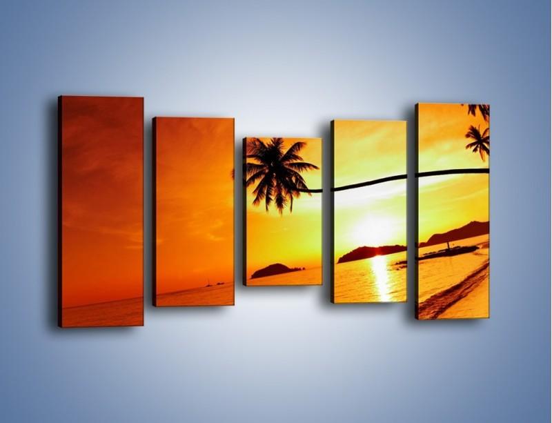 Obraz na płótnie – Palma o zachodzie słońca – pięcioczęściowy KN1077W2