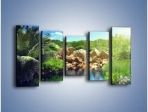 Obraz na płótnie – Bogata roślinność nad wodą – pięcioczęściowy KN1082AW2