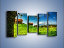 Obraz na płótnie – Chatki na polanie – pięcioczęściowy KN1085AW2