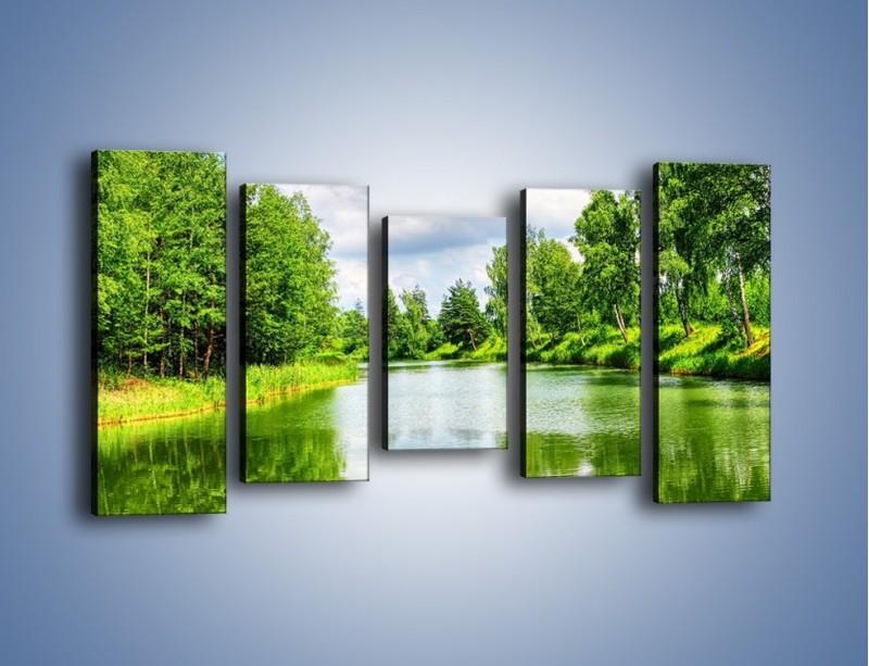 Obraz na płótnie – Spokojna woda i las – pięcioczęściowy KN1086W2