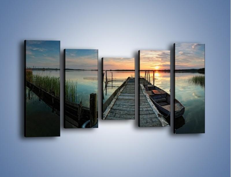 Obraz na płótnie – Stary most i łódź – pięcioczęściowy KN1096AW2