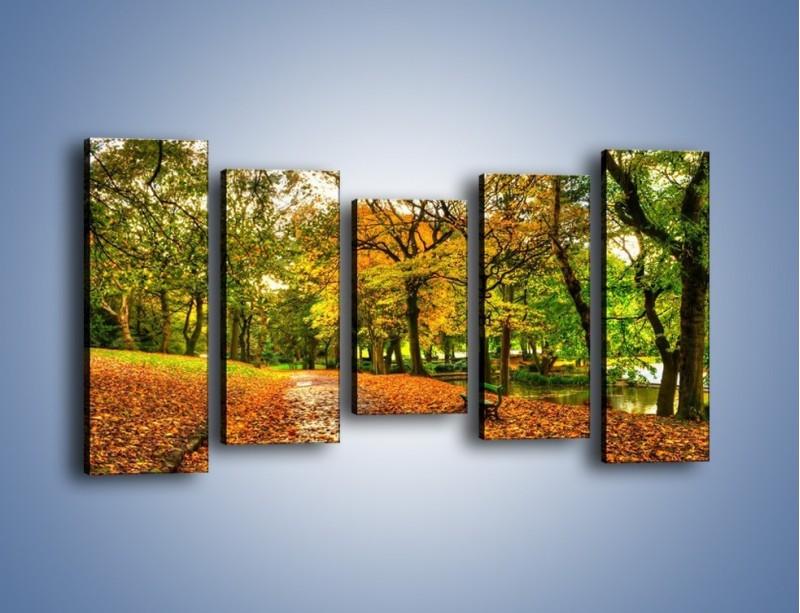 Obraz na płótnie – Piękna jesień w parku – pięcioczęściowy KN1098AW2