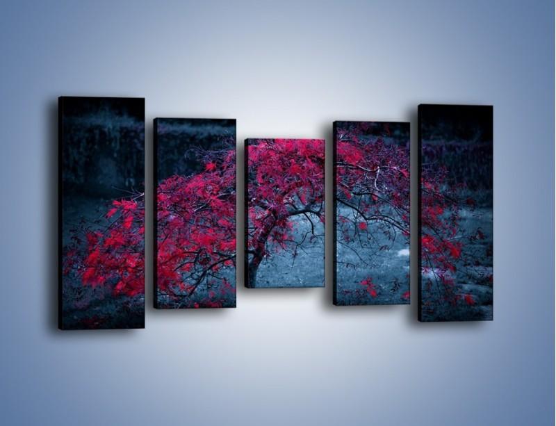 Obraz na płótnie – Czerwone płaczące drzewo – pięcioczęściowy KN1101AW2
