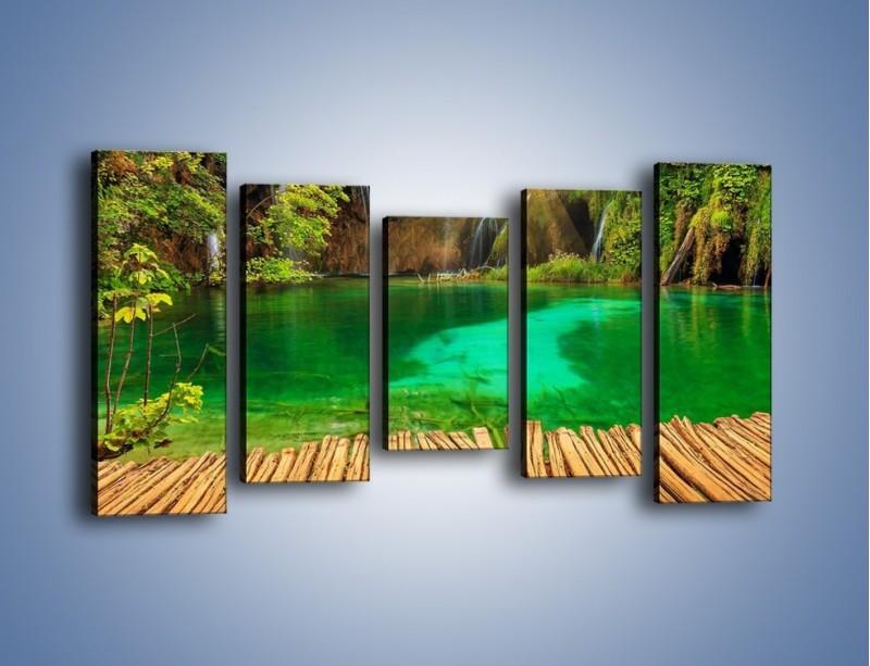 Obraz na płótnie – Zielone oczko wodne i drewno – pięcioczęściowy KN1149AW2