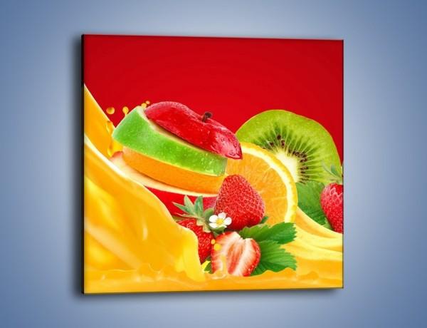 Obraz na płótnie – Wodospad z owoców – jednoczęściowy kwadratowy JN720