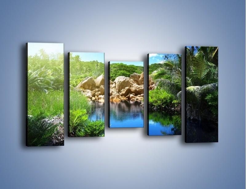 Obraz na płótnie – Wapienne skałki na wodzie – pięcioczęściowy KN1188AW2