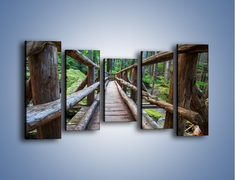 Obraz na płótnie – Mostek z drewnianych bali – pięcioczęściowy KN1207AW2