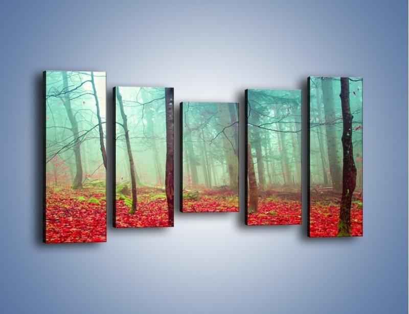 Obraz na płótnie – Drzewka na czerwonym dywanie – pięcioczęściowy KN1222AW2