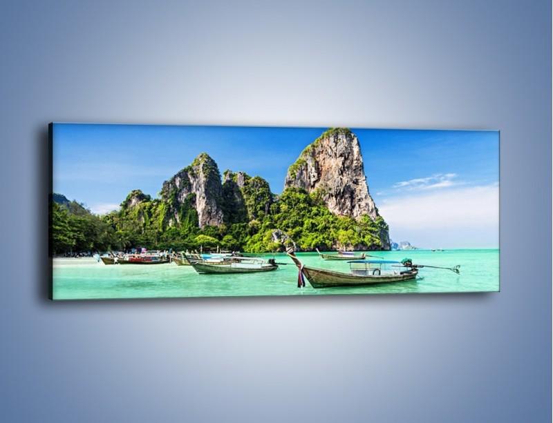 Obraz na płótnie – Komplet łódek na morzu – jednoczęściowy panoramiczny KN1031