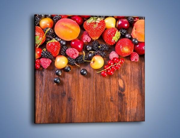 Obraz na płótnie – Stół do polowy wypełniony owocami – jednoczęściowy kwadratowy JN721