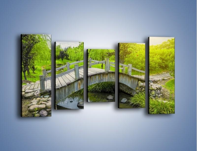 Obraz na płótnie – Mały mostek przez rzeczkę – pięcioczęściowy KN1254AW2