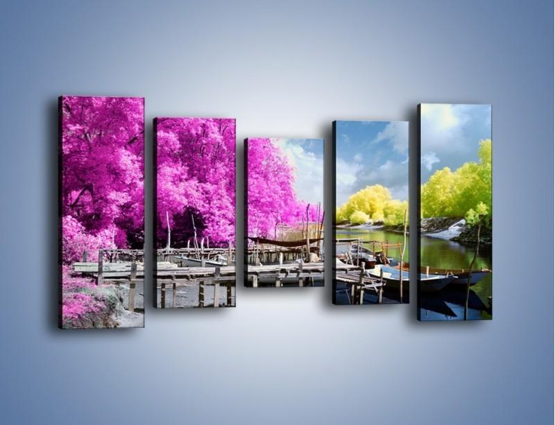 Obraz na płótnie – Wyraźne kolory w szarym tle – pięcioczęściowy KN1334AW2