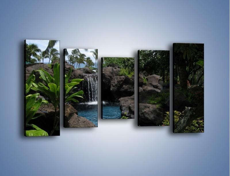 Obraz na płótnie – Wodospad wśród palm – pięcioczęściowy KN208W2
