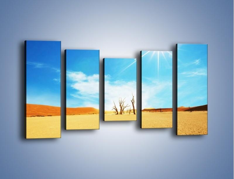Obraz na płótnie – Błękit nieba i słońce w ziemi – pięcioczęściowy KN331W2