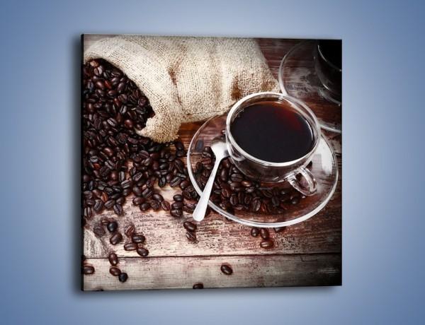 Obraz na płótnie – Kawa po dobrej stronie stołu – jednoczęściowy kwadratowy JN725