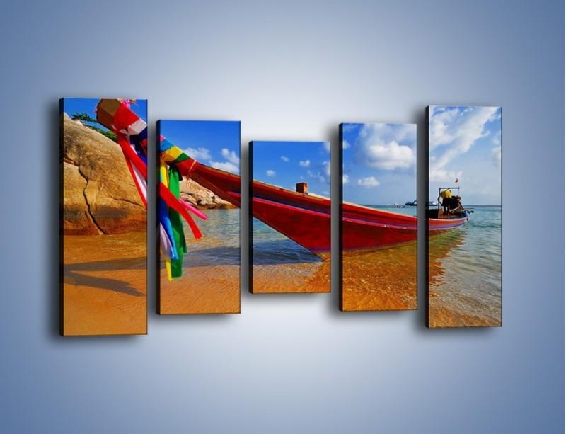 Obraz na płótnie – Kolorowa łódź na brzegu – pięcioczęściowy KN415W2