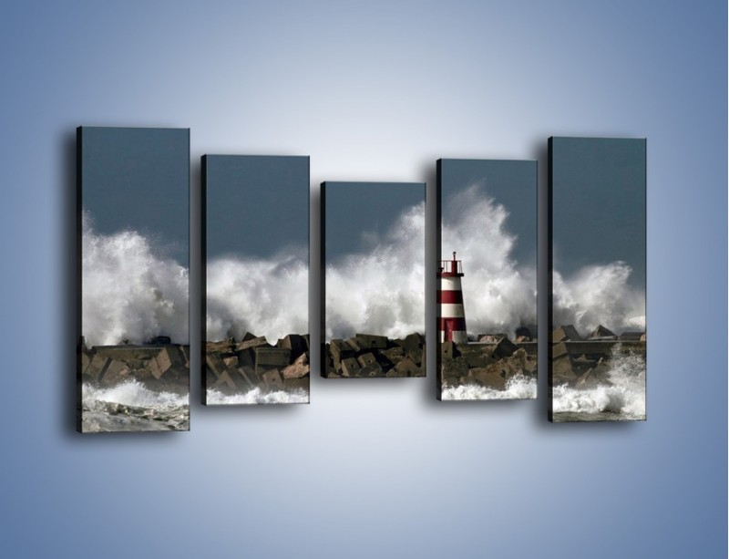 Obraz na płótnie – Latarnia morska w sztormie – pięcioczęściowy KN626W2