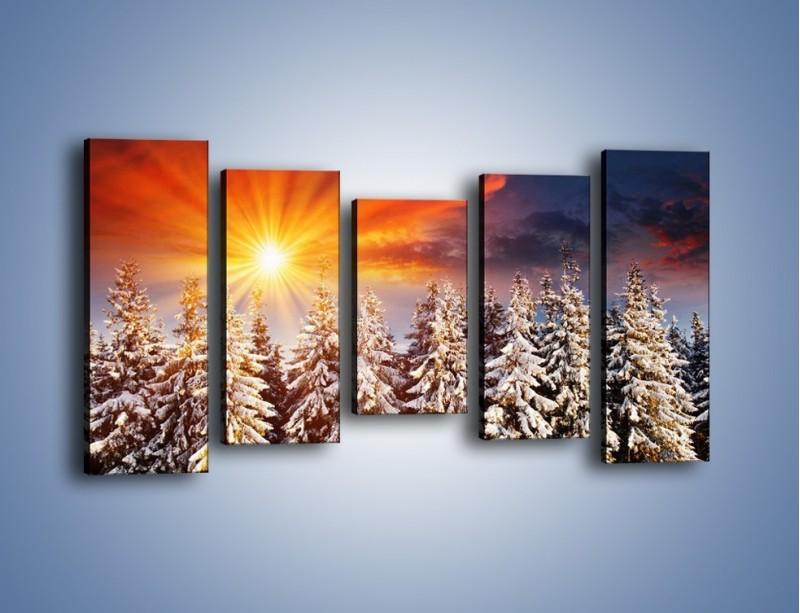 Obraz na płótnie – Choinki w środku zimy – pięcioczęściowy KN682W2