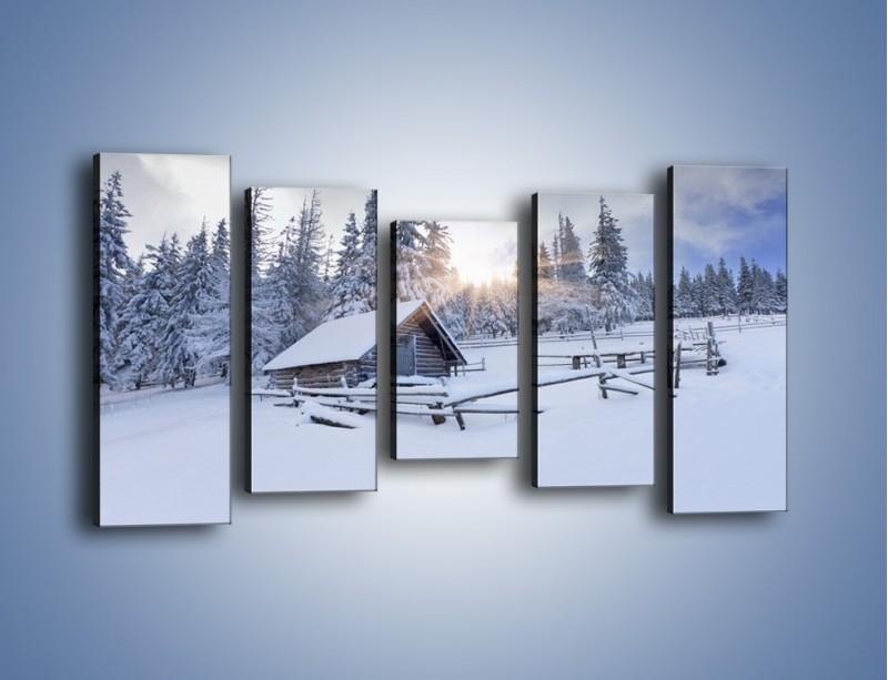 Obraz na płótnie – Chatka zatopiona w śniegu – pięcioczęściowy KN696W2