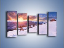 Obraz na płótnie – Chatka w śnieżnym dywanie – pięcioczęściowy KN725W2