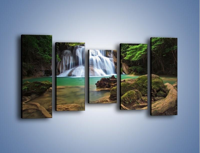 Obraz na płótnie – Drzewa schowane za wodospadem – pięcioczęściowy KN792W2