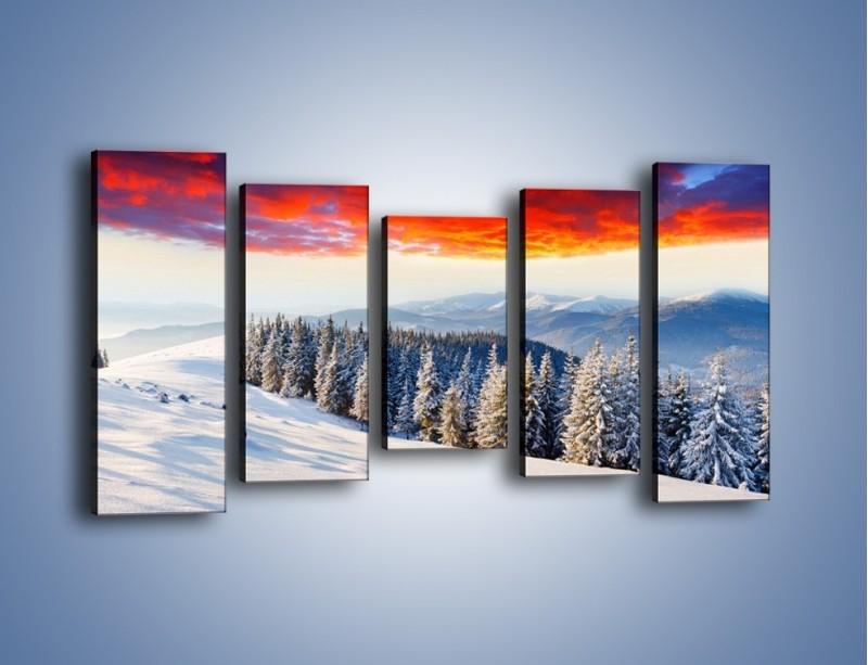Obraz na płótnie – Cały urok gór zimą – pięcioczęściowy KN805W2