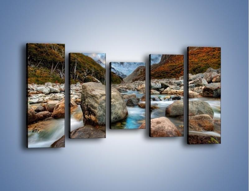 Obraz na płótnie – Niebezpieczny spacer po mokrych kamieniach – pięcioczęściowy KN810W2