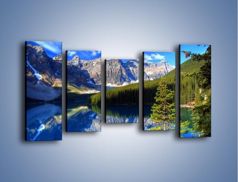 Obraz na płótnie – Góry i ich wodne odbicie – pięcioczęściowy KN839W2