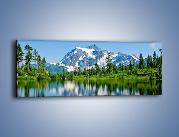 Obraz na płótnie – Lustrzane odbicie z gór – jednoczęściowy panoramiczny KN1049